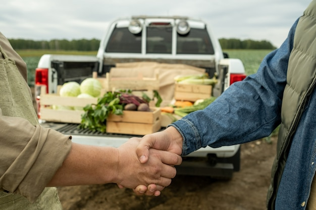 Hands of two farmers shaking hands against car trunk with harvest