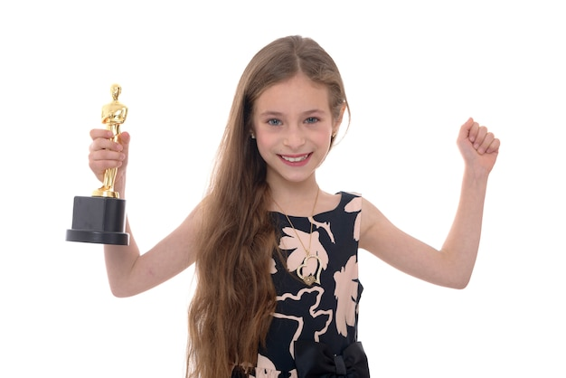 Hands up girl with trophy