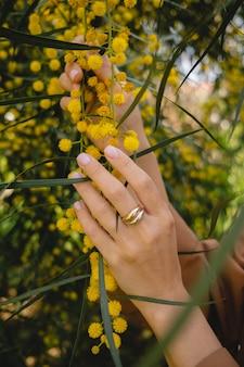 Руки с кольцом, держащим желтую цветущую мимозу весной крупным планом