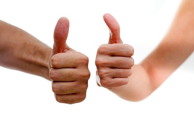 Hands with gestures of satisfaction