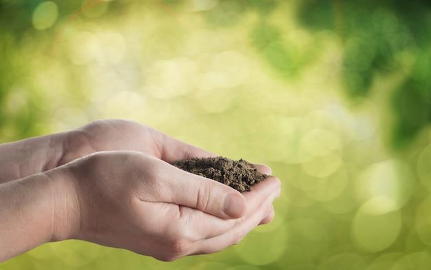 自然空間で地面を持つ手