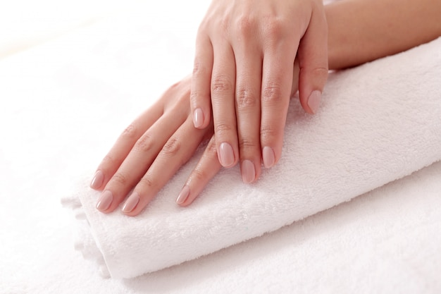 Hands with nice nails. nail grooming and manicure concept
