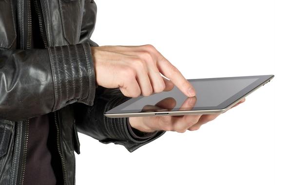 화이트에 태블릿 컴퓨터와 손