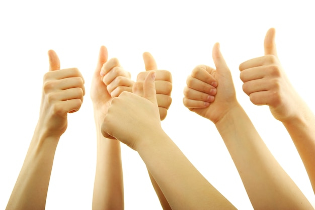 Hands with thumbs up isolated
