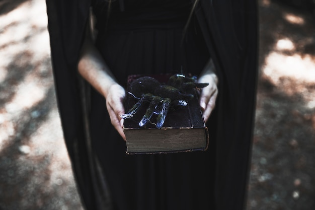 Hands of woman holding book with spider on top