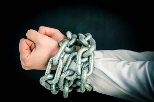 Hands wrapped in heavy chains