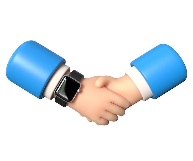 握手3dイラストは、取引契約の白い背景の結論を手渡します