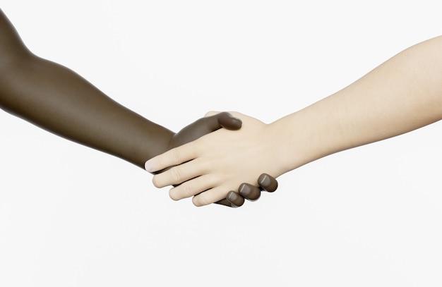 Рукопожатие между африканцем и кавказцем