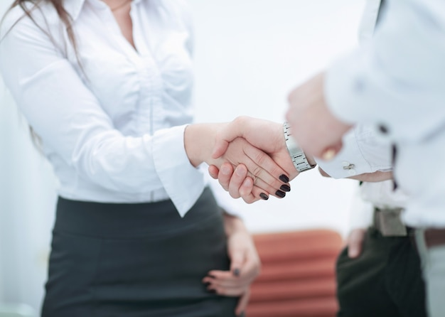 Handshake colleagues on the background of the office