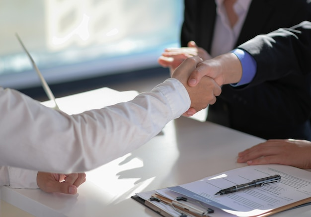 Handshake to congratulate the project