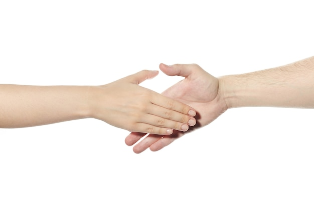 Handshake gesture. man and woman shake hands. greeting, successful deal and arrangement symbol. white isolated background