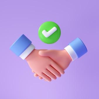 握手アイコン、シンボル。取引が成功したビジネスパートナーの握手。 3dレンダリングイラスト