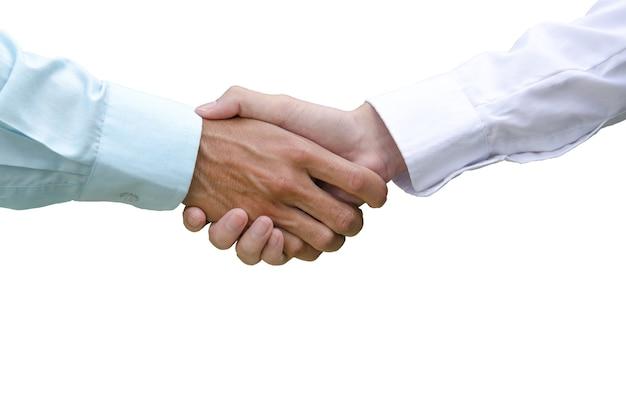 사업가의 악수는 클리핑 패스가 있는 흰색 배경에 격리된 사업가의 새 프로젝트의 성공에 동의했습니다.
