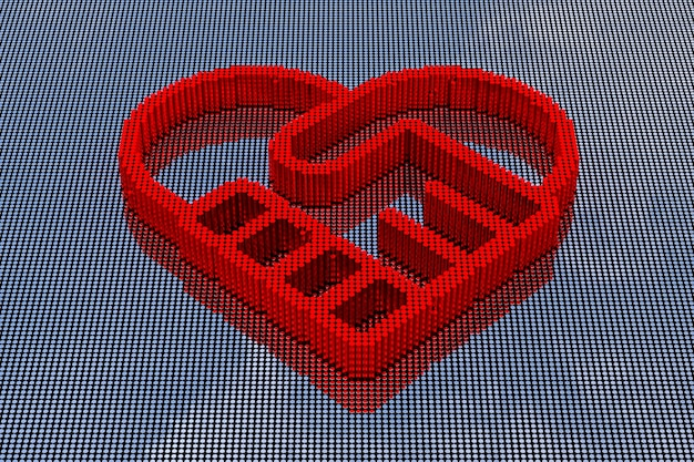 Символ рукопожатия, образуя стиль пиксельного искусства сердца. 3d рендеринг
