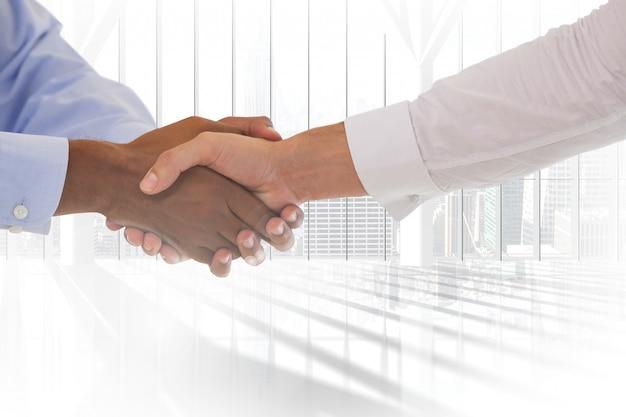 Handshake with both hands