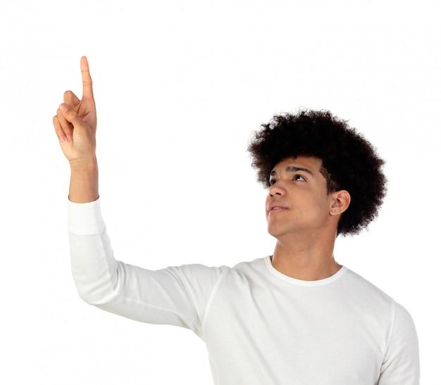 Handsome afro guy raising his finger