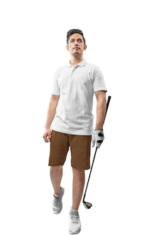 Handsome asian man in white clothes holding iron golf club walking