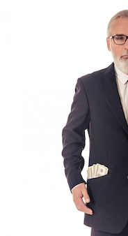 Handsome bearded businessman with money.
