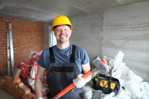 Handsome bearded constructor