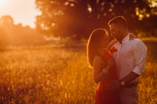Handsome bearded man hugs woman in red dress tender standing in golden summer field