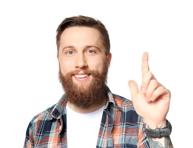 Красивый бородатый мужчина на белом фоне