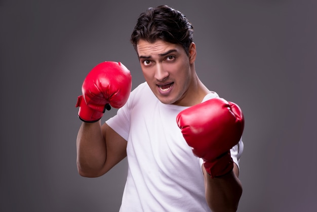 Handsome boxer in boxing