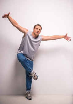 Handsome breakdancer young man