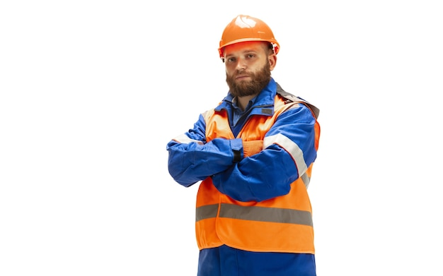Handsome builder isolated on white