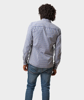 Handsome business african american man showing back, posing and waiting, looking back