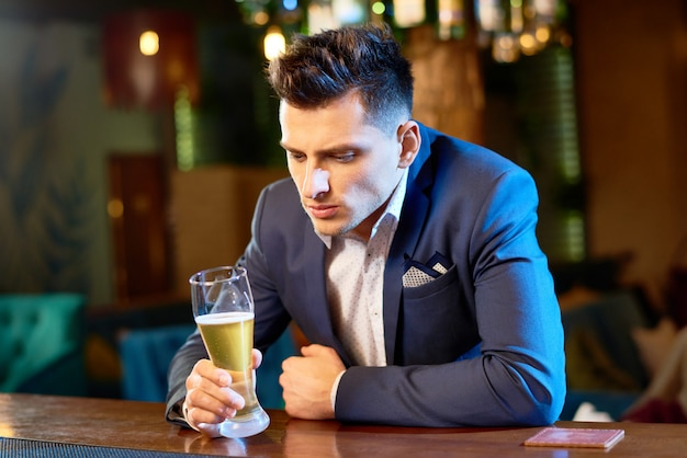 Handsome businessman in pub
