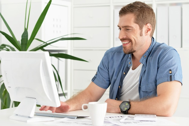 Handsome businessman working with computer and papers in office