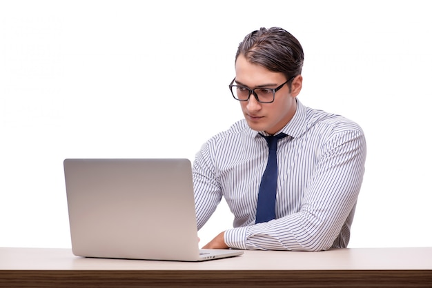Handsome businessman working with laptop computer isolated
