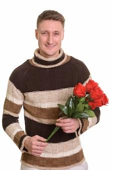 Красивый кавказский мужчина, изолированные на белом фоне