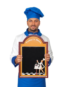 Handsome chef with menu isolated
