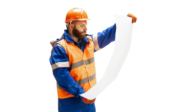 Handsome contractor builder isolated over white