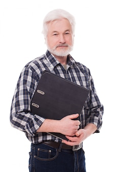 Handsome elderly man with case