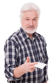 Handsome elderly man with paper