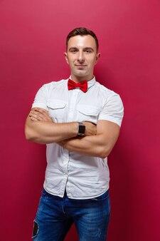 Handsome elegant man in red bowtie