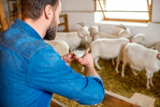 배경에 염소와 염소 헛간에 서 있는 신선한 우유를 시음 하는 잘생긴 농부. 천연 우유 생산 및 농업
