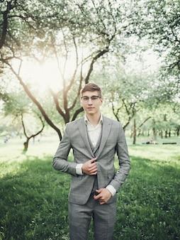 Handsome groom at wedding