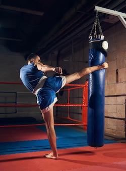 Handsome kick boxer training kicking and punching boxing bag