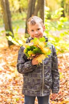 カエデの葉と日当たりの良い秋の公園でハンサムな男の子