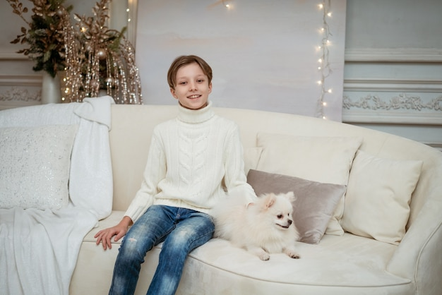 Handsome little caucasian boy on the sofa with white dog on a light christmas background merry chris...