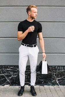Handsome male in casual outfit