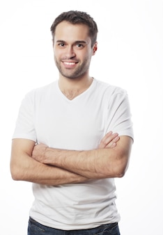 Handsome man in blank white shirt