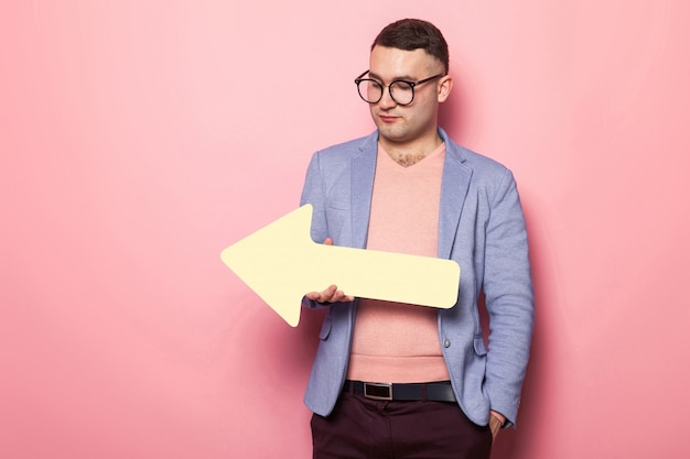 Handsome man in bright jacket with speech pointer