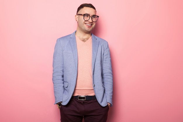 Handsome man in bright jacket