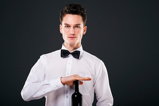 Handsome man on dark grey background
