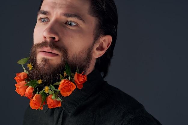 ハンサムな男の髪型ファッション花感情暗い背景