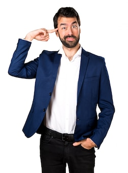 Handsome man making crazy gesture